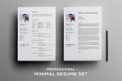Resume Creator Script by Professional Minimal Resume Set Resume Templates