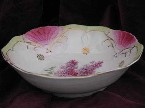 antique germany china serving bowl lilacs floral