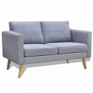 acheter canape 2 places en tissu gris clair pas cher With canapé 2 places tissu gris