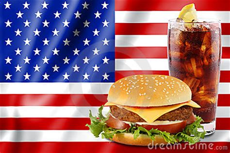 hamburger  cola  usa flag royalty  stock