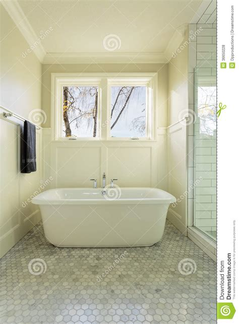 master bathroom bathtub  windows stock photo image