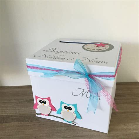 urne boite  enveloppes jumeaux theme hibou chouette