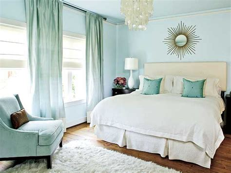 Pale Blue Bedroom With Light Accessories Red Decor Idea