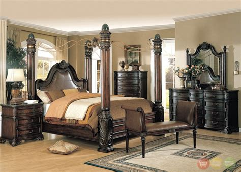 King Size Poster Bedroom Sets by Fabiana Traditional Poster Canopy Leather Bedroom Set W