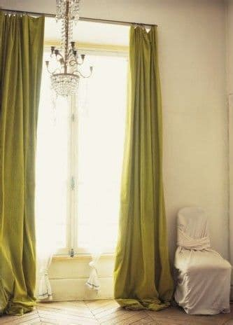 chartreuse curtains drapes how to style puddled curtains the finishing touch