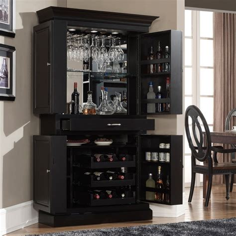 ahb francesca corner bar cabinet black home bars
