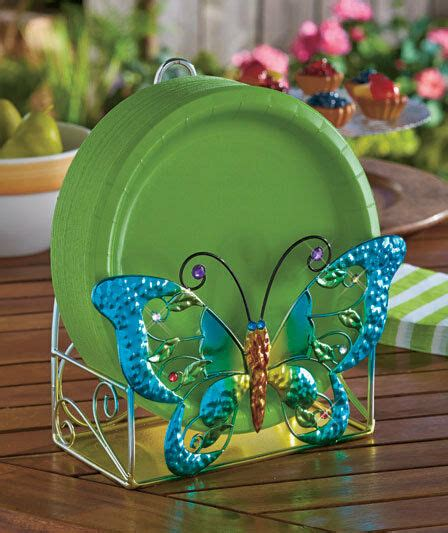 butterfly paper plate holder jewel toned outdoor party