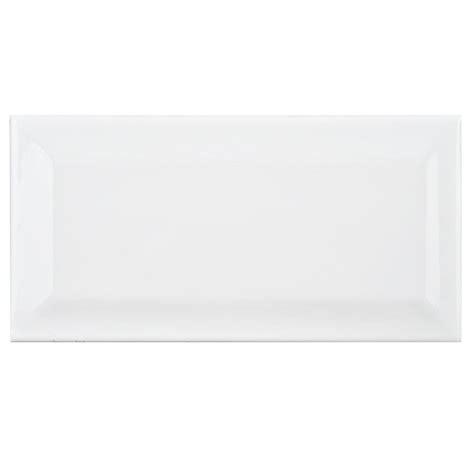 4x12 white beveled subway tile merola tile park slope subway beveled glossy white 3 in x