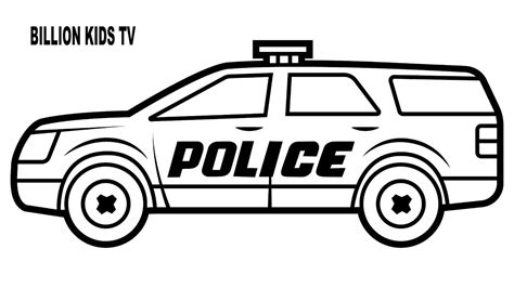 draw coloring page  police suv car  kids