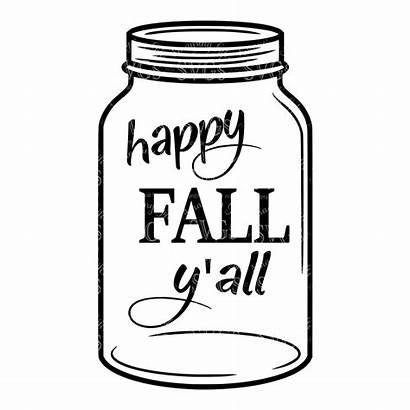 Jar Mason Svg Drawing Jars Template Fall