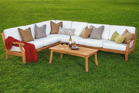 pc sectional sofa set teakwood teak wood garden indoor
