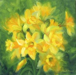 Easter Daffodils Painting by Karin Leonard
