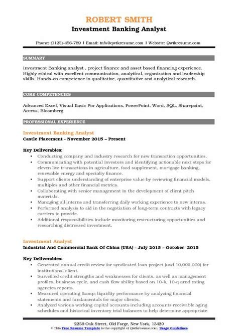 investment banking analyst resume samples qwikresume