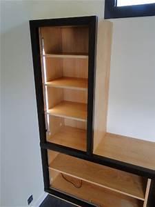 Meuble Tv Bois Foncé : fabrication d 39 un meuble tv et rangements moderne anglet ~ Teatrodelosmanantiales.com Idées de Décoration