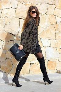 Leopard cardigan + black tights + over the knee boots...love it! www.annjaneliving.com | My ...