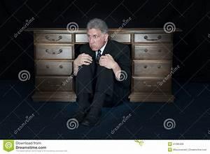 Funny Scared Fear Businessman Hide Under Office Desk Stock ...
