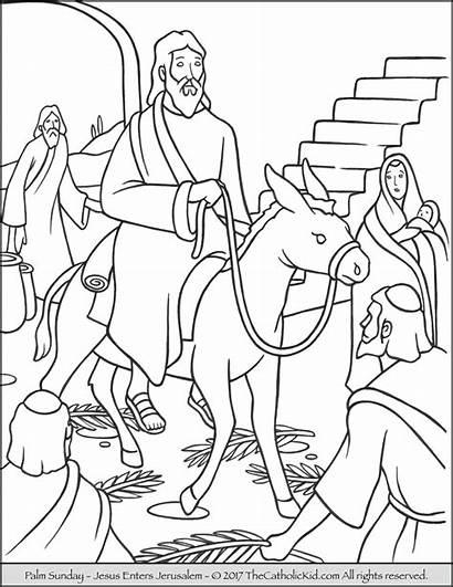 Palm Coloring Sunday Jesus Pages Jerusalem Enters