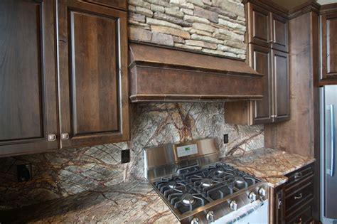 forest web mahogany marble backsplash rustic kitchen
