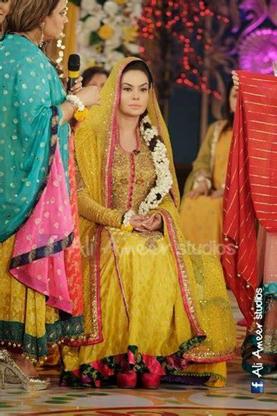 pakistani celebrities  yellow mayun dresses   fashion