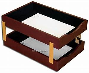 burgundy gold striped leather double front load letter With legal size letter tray