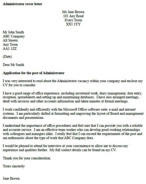 administrator cover letter  cover letter examples