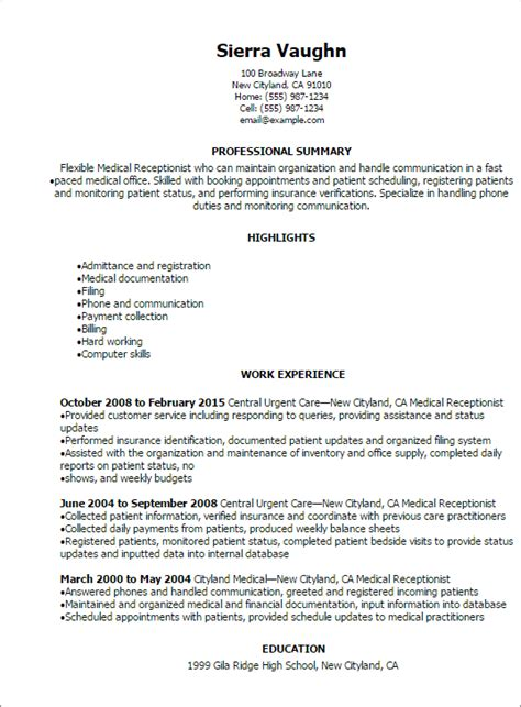 Sles Of Receptionist Resumes by Receptionist Resume Sle Modern Resume Exle