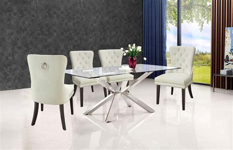 juno dining room set  cream  pink nikki chairs  meridian furniture furniturepick