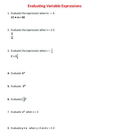 evaluating variable expressions simple worksheets