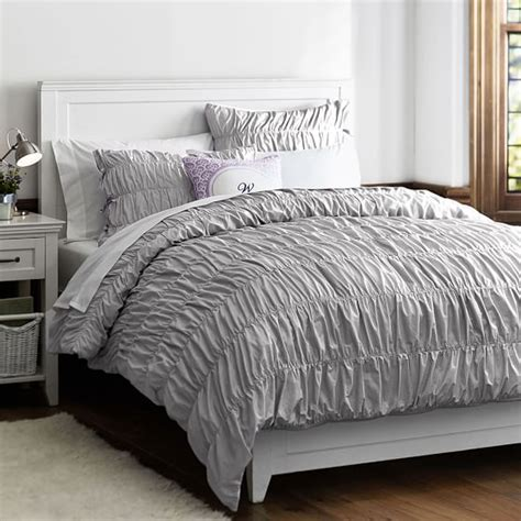 ruched duvet cover ruched duvet cover sham light gray pbteen