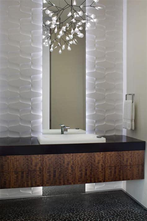 white modern powder room  major design punch hgtv