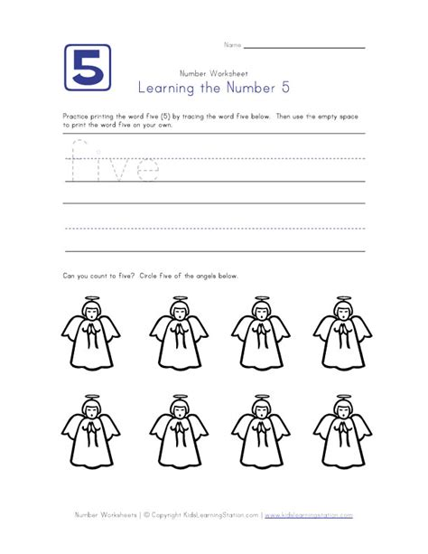 number five worksheet preschool number pages