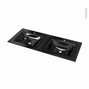 Vasque En Verre : plan double vasque occe verre noir l120 5xp50 5 oskab ~ Melissatoandfro.com Idées de Décoration