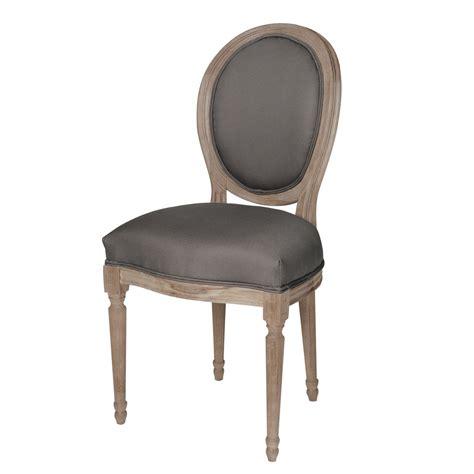 chaise en chene chaise médaillon en coton et chêne massif grise louis