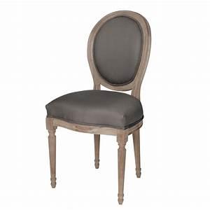 Chaise médaillon en coton et chêne massif grise Louis Maisons du Monde