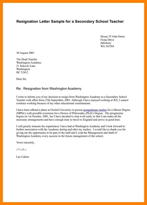 employee resignation letter sample resignition letter