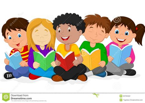 diverse children reading clip art  clip art