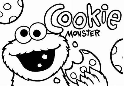 Cookie Coloring Monster Pages Jar Chewing Chocolate