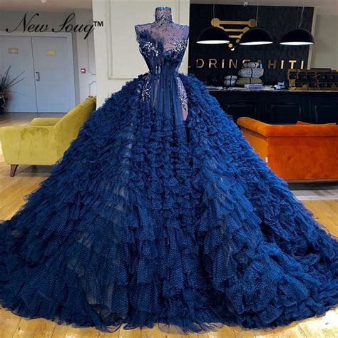 New Arrival Blue Tiered Tulle Ball Gown Evening Dress Prom ...
