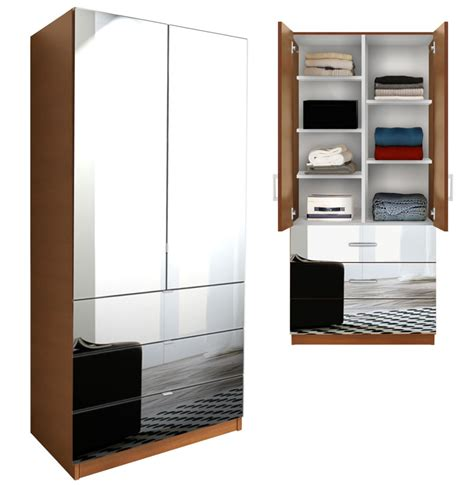 Mirrored Wardrobe With Shelves by Alta Wardrobe Armoire Adjustable Shelves 3 Drawers