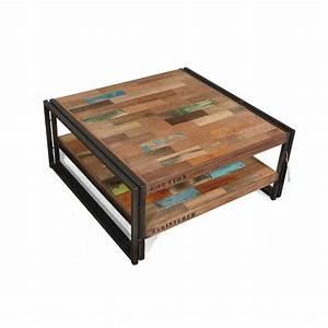 Table De Salon Industrielle : table basse carr e style industrielle en m tal et bois recycl ~ Teatrodelosmanantiales.com Idées de Décoration