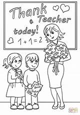 Teacher Coloring Thank Printable Drawing Teachers Appreciation Colouring Happy Paper Cards Classroom Supercoloring Students Super Kid Gift Puzzle Greeting Cartoon sketch template