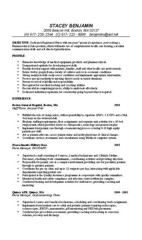 nurse resume  sample examples