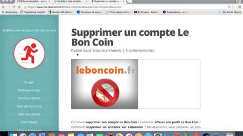 Supprimer Un Compte Le Bon Coin Youtube