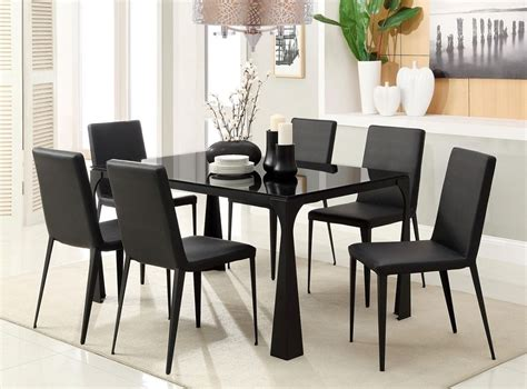 7pc modern kalae black temp glass top dining table set 6