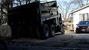 Dump Truck Dumping 12 yards Gravel - YouTube