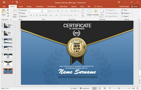 Certificate Template Powerpoint by Animated Certificate Powerpoint Template