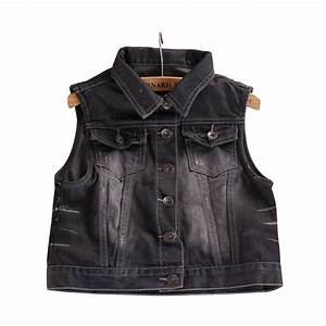 Retro Washed Women Denim Sleeveless Personalized Black Short Jeans Jacket Cardigan Spring Summer ...