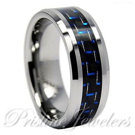 tungsten carbide blue black carbon fiber ring engagement wedding band silver ebay