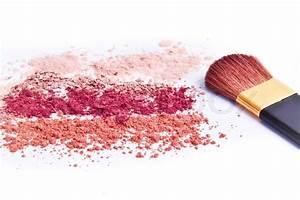 Makeup powder with brush white background | Stock Photo ...