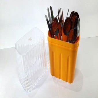 kiramas tempat sendok garpu dan sumpit orange lazada indonesia